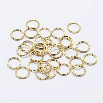 925 Sterling Silver Open Jump Rings, Round Rings, Golden, 7x0.9mm; Inner Diameter: 5mm; about 80pcs/10g(STER-F036-02G-0.9x7mm)