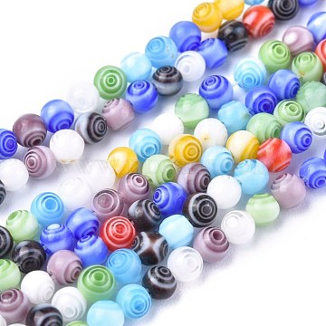 Handmade Millefiori Glass Round Beads Strands, Mixed Color, 4mm, Hole: 0.5mm; about 98pcs/strand, 13.7inches(LK-R004-91)