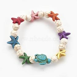 """Bracelets stretch enfants perles de turquoise synthétiques, tortue de mer et étoile de mer et rond, fumée blanche, 2-1/8"""" (5.5 cm)(BJEW-JB03889-05)"""