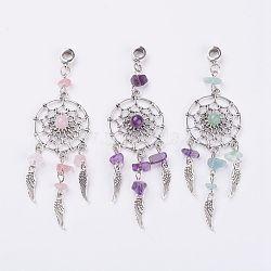 alliage de style tibétain européennes perles balancent, avec des pierres précieuses naturelles, toile tissée / toile avec plume, 92.5 mm, trou: 5 mm(X-PALLOY-JF00295)