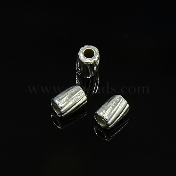 Tibetan Style Alloy Beads, Column, Silver Color Plated, Cadmium Free & Lead Free, 4x3mm, Hole: 1mm(K08WR021)
