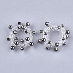 cordon téléphonique plastique liens de cheveux élastique, avec des perles en plastique ccb, bronze, 18~25 mm(OHAR-T006-20B)