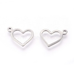 304 Stainless Steel Open Charms, Heart, Stainless Steel Color, 10x14x0.8mm, Hole: 1mm