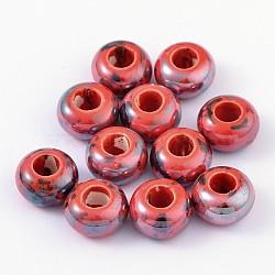 Perles en porcelaine manuelles, nacré, rondelle, rouge, 15x10mm, Trou: 6mm(X-PORC-Q209-15mm-6)