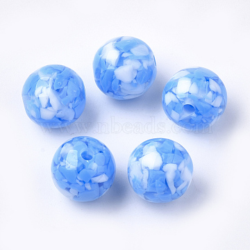 10mm DodgerBlue Round Resin Beads