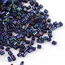 Rocailles tubes en verre plaqué, iris ronde, bleu plaqué, 2~3x2mm, trou: 1 mm; environ 2222 pcs / 50 g(X-SEED-R010-704)
