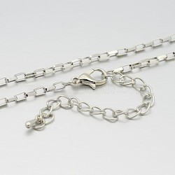 Iron Box Chain Necklace Making, with Alloy Lobster Claw Clasps and Iron End Chains, Platinum, 29.5 inches(MAK-J009-36P)