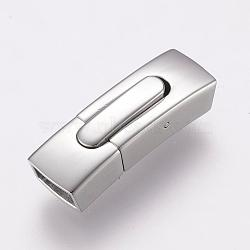 304 Stainless Steel Bayonet Clasps, Rectangle, Stainless Steel Color, 30x10x7.5mm, Hole: 4x8mm(STAS-F122-39P)