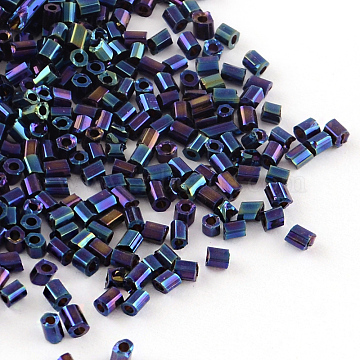 Tube Plated Glass Bugle Beads, Iris Round, Blue Plated, 2~3x2mm, Hole: 1mm, about 2222pcs/50g(X-SEED-R010-704)