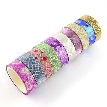 Glitter Powder DIY Scrapbook Decorative Self Adhesive Tapes, Mixed Color, 14.5mm; about 3m/roll, 10rolls/group(DIY-S028-01)