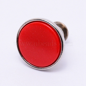 Alloy Jeans Buttons, with Resin, Garment Accessories, Flat Round, Red, 16x15mm, Pin: 1.2mm, Hole: 1.2mm(PJ-TAC0003-01P-07)