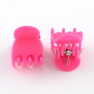 Kids Hair Accessories Plastic Claw Hair Clips, DeepPink, 15x14mm(PHAR-Q114-013G)