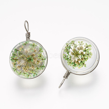 Glass Penadnts, with Dry Flower and Brass Findings, Platinum, Round, LightGreen, 30.5x19.5x17.5mm, Hole: 3x5mm(GLAA-P030-01)