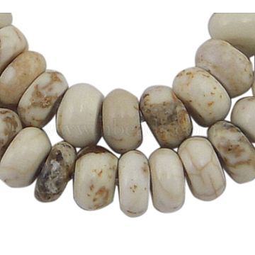 6mm White Abacus Howlite Beads