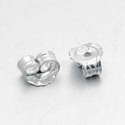 Conclusions de boucle d'oreille en argent sterling, pour les noix, argenterie, 5x5x3mm, Trou: 0.6mm(X-STER-O013-05)