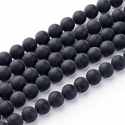 Grade A Natural Black Agate Beads Strands, Dyed, Frosted, Round, 6mm, Hole: 1mm; about 65pcs/strand, 15.5inches