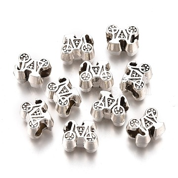 Alloy European Beads, Large Hole Beads, Bicycle Shape, Cadmium Free & Lead Free, Antique Silver, 10x12x7.5mm, Hole: 5mm(MPDL-L028-88AS-RS)
