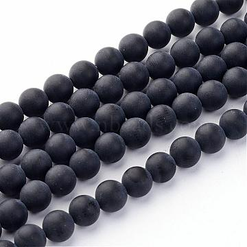 6mm Black Round Black Agate Beads