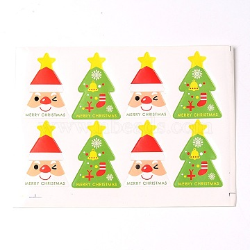Christmas Tree Pattern DIY Label Paster Picture Stickers, Colorful, 18x13.3cm; about 8pcs/sheet(AJEW-L053-09)
