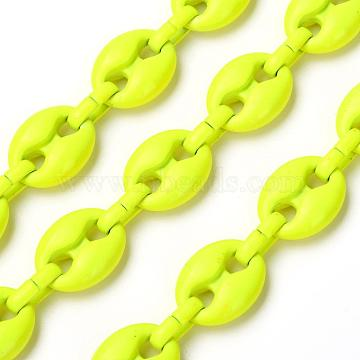 Alloy Coffee Bean Chains, with Iron Oval Link, Unwelded, Spray Paint, Cadmium Free & Lead Free, with Spool, Yellow, Coffee Bean: 13.5x10.5x4.5mm, Link: 9x4x2mm(LCHA-H004-10A-010)
