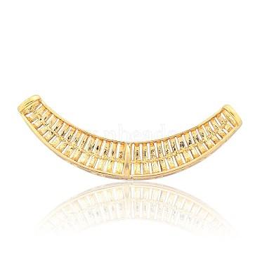 Ton doré alliage strass émail courbe perles tubulaires(RB-J265-03G)-2