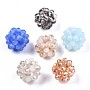 Glass Round Woven Beads, Cluster Beads, Faceted, Mixed Color, 15.5~17mm, Hole: 2mm, Beads: 4x3.5mm