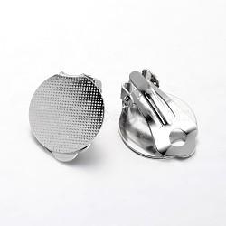Supports de clip d'oreille plate en laiton plateau rond, platine, 22x15mm, Plateau: 15 mm(KK-F371-47P)
