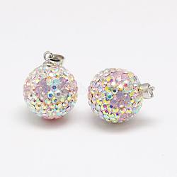 Austrian Crystal Polymer Clay Pendants, with Sterling Silver Findings, Round, 223_Light Rose, 14mm, Hole: 3x4mm(X-SWARJ-J034-14mm-J13)