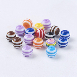 Mixed Color Round Striped Resin Chunky Beads, Lined, about 8mm in diameter, hole: 2 mm(X-RB017Y)