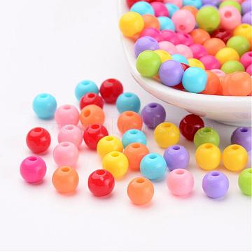 Mixed Color Acrylic Jewelry Beads, Loose Round Beads, DIY Material for Children's Day Gifts Making, Size: about 6mm in diameter, hole: 2mm(X-PAB702Y)
