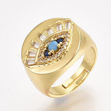 Adjustable Brass Micro Pave Cubic Zirconia Finger Rings, Eye, Golden, Size 7, 17mm(X-RJEW-S044-019)
