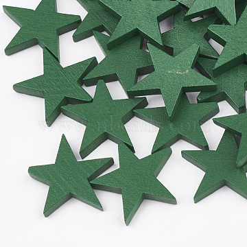 Natural Pear Wood Beads, Half Drilled Beads, Dyed, Star, Green, 22x24x4mm, Half Hole: 0.8mm(X-WOOD-T010-01B)