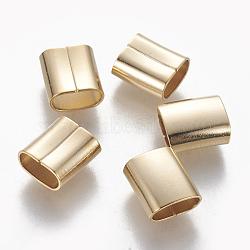 Breloques coulissantes/perles coulissantes en 304 acier inoxydable, pour la fabrication de bracelets en cuir, rectangle, or, 9.5x8.5x5mm, Trou: 3.5x7.5mm(STAS-L233-058B-G)
