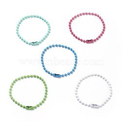 экологические железные шариковые цепи с коннекторами, пайки, для изготовления шариковых цепочек, свинца и никеля бесплатно, cmешанный цвет, 4-1 / 2 (11.5 см) ~ 4-3 / 4 (12 см)(X-IFIN-F149-A)