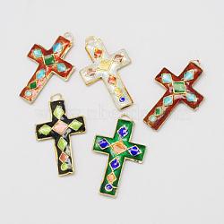 Handmade Cloisonne Pendants, Cross, Mixed Color, 36x23x4mm, Hole: 2mm(CLB-S002-43)