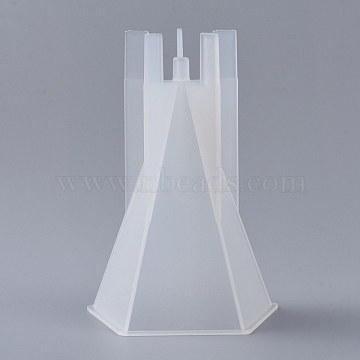 DIY Pentagonal Aromatherapy Candle Plastic Molds, for Making Candles, White, 91x88x134mm, Inner Diameter: 80x76mm(X-DIY-F048-07)