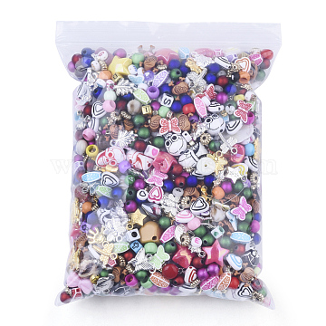 Mixed Material Findings, Mixed Style Shapes, Mixed Color, 3~20x3~20x3~13mm, Hole: 1~5mm; 500g/bag(FIND-Q083-01)