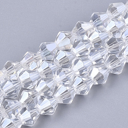 perles en verre plaquent brins, lustre perle plaqué, facettes, Toupie, effacer, 6x5.5~6 mm, trou: 1 mm; environ 50 perle / brin, 11.02(X-EGLA-Q118-6mm-A15)