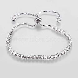 """Bracelets en zircone cubique à micro-cuivré en laiton réglable, bracelets bolo, Bracelets coulissants, platine, 8-1/2"""" (215 mm)(BJEW-G588-01P)"""