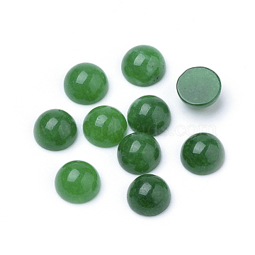 Natural White Jade Cabochons, Dyed, Half Round/Dome, Green, 6x3~4mm(X-G-R416-6mm-08)
