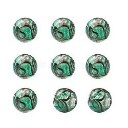 Perles vernissées de sable d'or manuelles , rond, aigue-marine moyen, 11.5~12mm, Trou: 1.2~2mm(LAMP-TAC0001-01C)