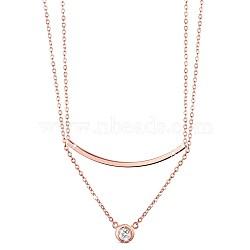 """Shegrace® 925 colliers à plusieurs niveaux en argent sterling, avec micro pave aaa pendentif zircon cubique, or rose, 13.3"""" (34 cm)(JN656C)"""