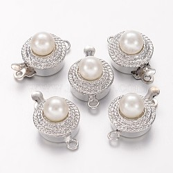 Tonalité de platine boîte en laiton fermoirs, avec des perles de perles acryliques en alliage cabochon, sans nickel, environ 11 mm de large, Longueur 18mm, 9 mm d'épaisseur, trou: 1.5 mm(X-KK187-NF)