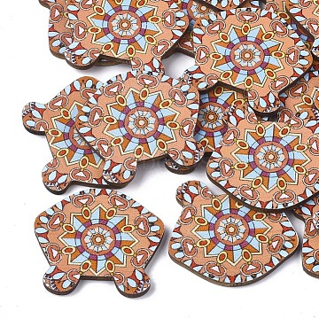 Printed Basswood Cabochons, Stool, Colorful, 31x34.5x3mm(X-WOOD-S045-087)