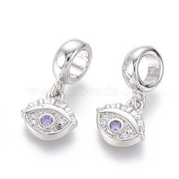 19mm Lilac Eye Brass+Cubic Zirconia Dangle Beads