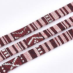 cordons de coton, cordon ethnique, coloré, 9.5~10x1.5~2.5 mm; sur 5 m / rouleau(OCOR-S019-02D)