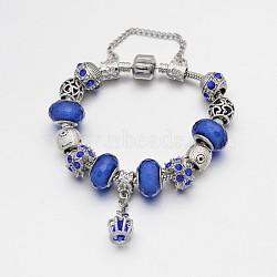 Alliage de couronne strass émail européens bracelets de perles, avec résine perles européennes, chaînes en laiton et en alliage fermoirs, bleu, 180mm(BJEW-I182-02E)