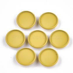 Paramètres de cabochon de glissière de fer environnementale peinte par pulvérisation d'environnement, pour bande de cheveux et décoration cravate, plat rond, or, plateau: 18 mm; 20x6 mm, Trou: 3.5x5mm(IFIN-T009-17B-05)