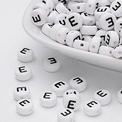 100 pcs rond et plat avec des perles acryliques lettre e, blanc et noir, taille: environ 7mm de diamètre, épaisseur de 4mm, Trou: 1mm(X-PL37C9070-E)