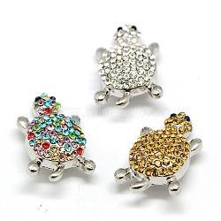 Boutons en alliage avec strass, tortue boutons bijoux snap, sans plomb & sans nickel & sans cadmium , platine, couleur mixte, 27x17.5x10 mm; bouton: 5~6 mm(SNAP-A021-P-NR)